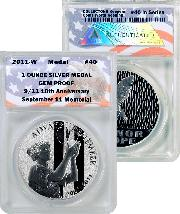 CollecTons Keepers #40: 2011-W September 11 National Medal - 1 ounce Silver Proof Certified in Exclusive ANACS GEM Proof Holder