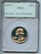 1953 Washington Silver Quarter Proof in PCGS PR 65
