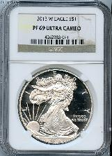 2013-W American Silver Eagle Dollar PROOF in NGC PF 69 ULTRA CAMEO