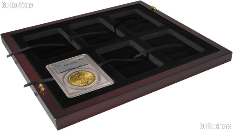 Coin Tray For 6 Slabs Fits In Mahogany Wood Coin Display