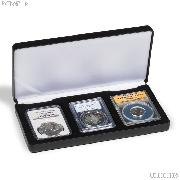 Leatherette Coin Display Box for 3 Certified Slabs by Lighthouse NOBILE