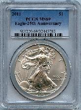 2011 25TH Anniversary American Silver Eagle Dollar in PCGS MS 69
