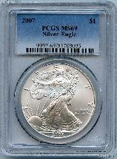 2007 American Silver Eagle Dollar in PCGS MS 69