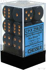 12 x Dusty Blue/Copper 16mm Six Sided (D6) Opaque Dice by Chessex CHX25626