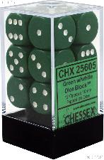 12 x Green/White 16mm Six Sided (D6) Opaque Dice by Chessex CHX25605