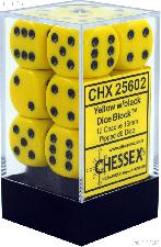 12 x Yellow/Black 16mm Six Sided (D6) Opaque Dice by Chessex CHX25602