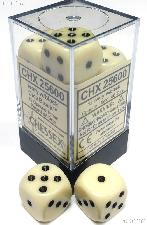 12 x Ivory/Black 16mm Six Sided (D6) Opaque Dice by Chessex CHX25600