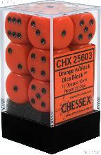 12 x Orange/Black 16mm Six Sided (D6) Opaque Dice by Chessex CHX25603