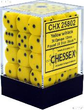 36 x Yellow/Black 12mm Six Sided (D6) Opaque Dice by Chessex CHX25802