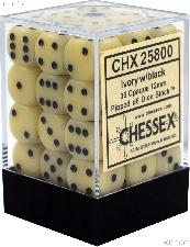 36 x Ivory/Black 12mm Six Sided (D6) Opaque Dice by Chessex CHX25800