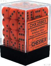 36 x Orange/Black 12mm Six Sided (D6) Opaque Dice by Chessex CHX25803