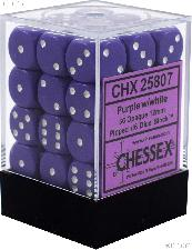 36 x Purple/White 12mm Six Sided (D6) Opaque Dice by Chessex CHX25807