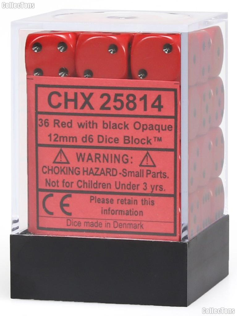 36 x Red/Black 12mm Six Sided (D6) Opaque Dice by Chessex CHX25814
