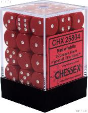 36 x Red/White 12mm Six Sided (D6) Opaque Dice by Chessex CHX25804