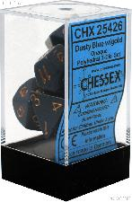7-Die Set Polyhedral Dusty Blue/Copper Opaque Dice by Chessex CHX25426