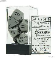 7-Die Set Polyhedral Dark Grey/Black Opaque Dice by Chessex CHX25410