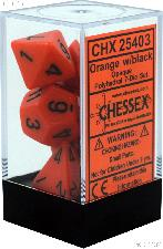 7-Die Set Polyhedral Orange/Black Opaque Dice by Chessex CHX25403