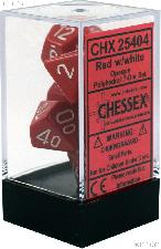 7-Die Set Polyhedral Red/White Opaque Dice by Chessex CHX25404