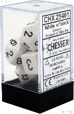 7-Die Set Polyhedral White/Black Opaque Dice by Chessex CHX25401