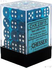 36 x Teal/White 12mm Six Sided (D6) Translucent Dice by Chessex CHX23815