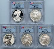 2011 25th Anniversary American Silver Eagle Set (5 Coins) in PCGS First Strike MS 70 & PF 70