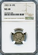 1921-D Key Date Mercury Silver Dime in NGC VG 10