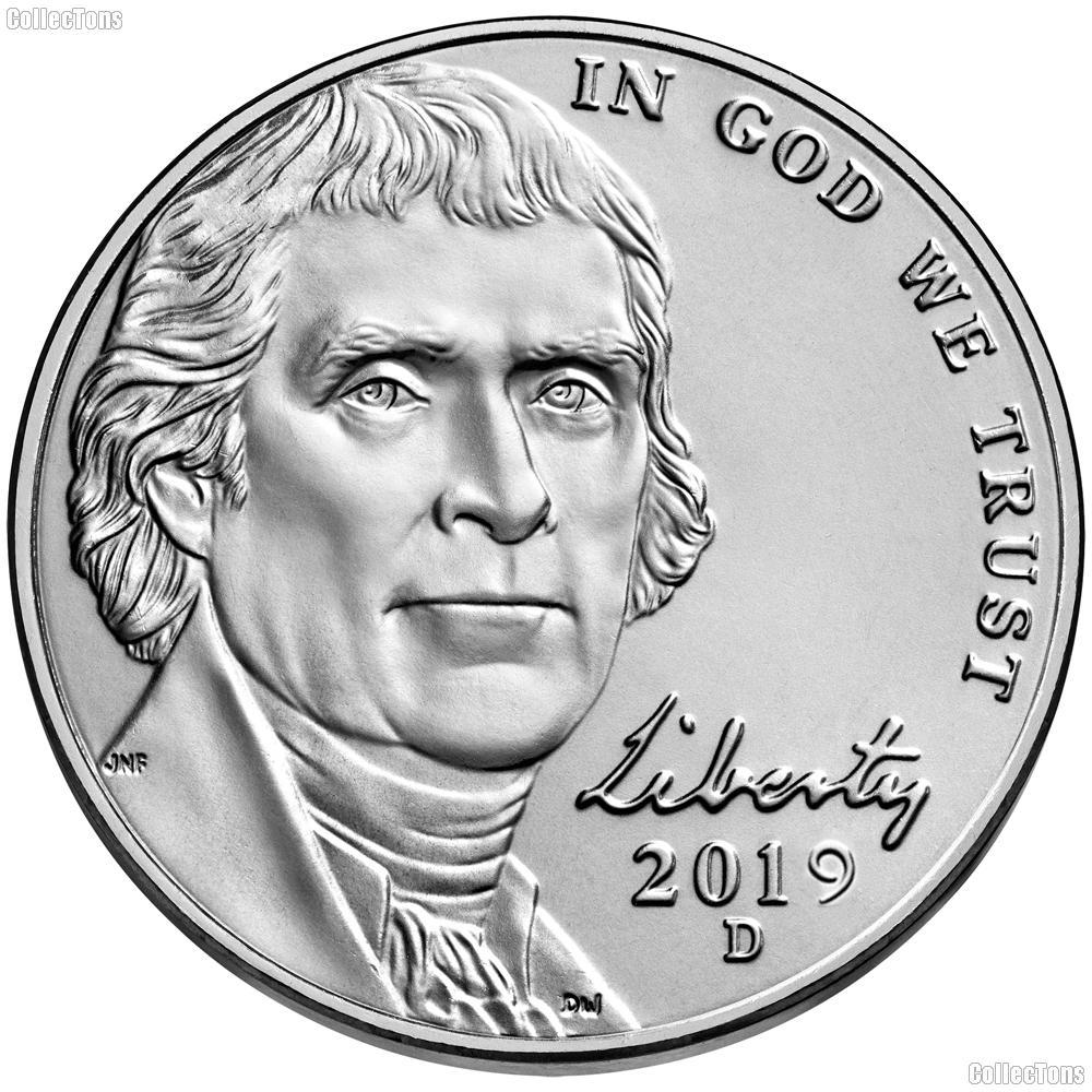 Jefferson 5 cent From Uncirculated Bank Rolls 2018 D