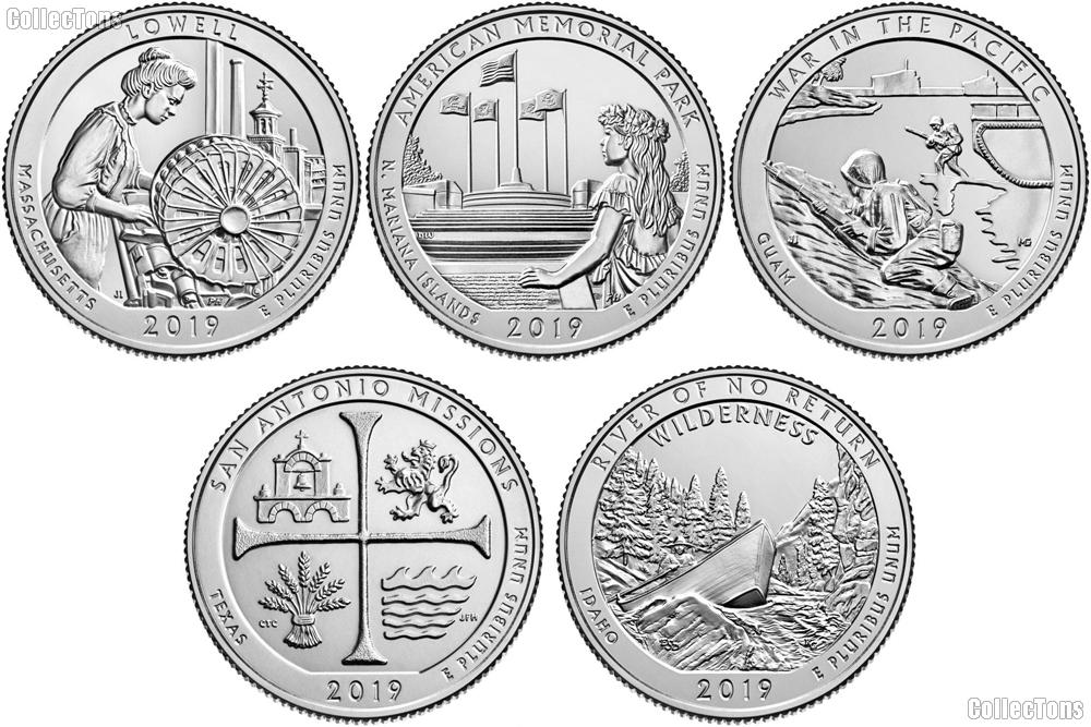 2019 National Park Quarters Complete Set Denver (D) Mint Uncirculated (5 Coins) MA, MP, GU,TX, ID