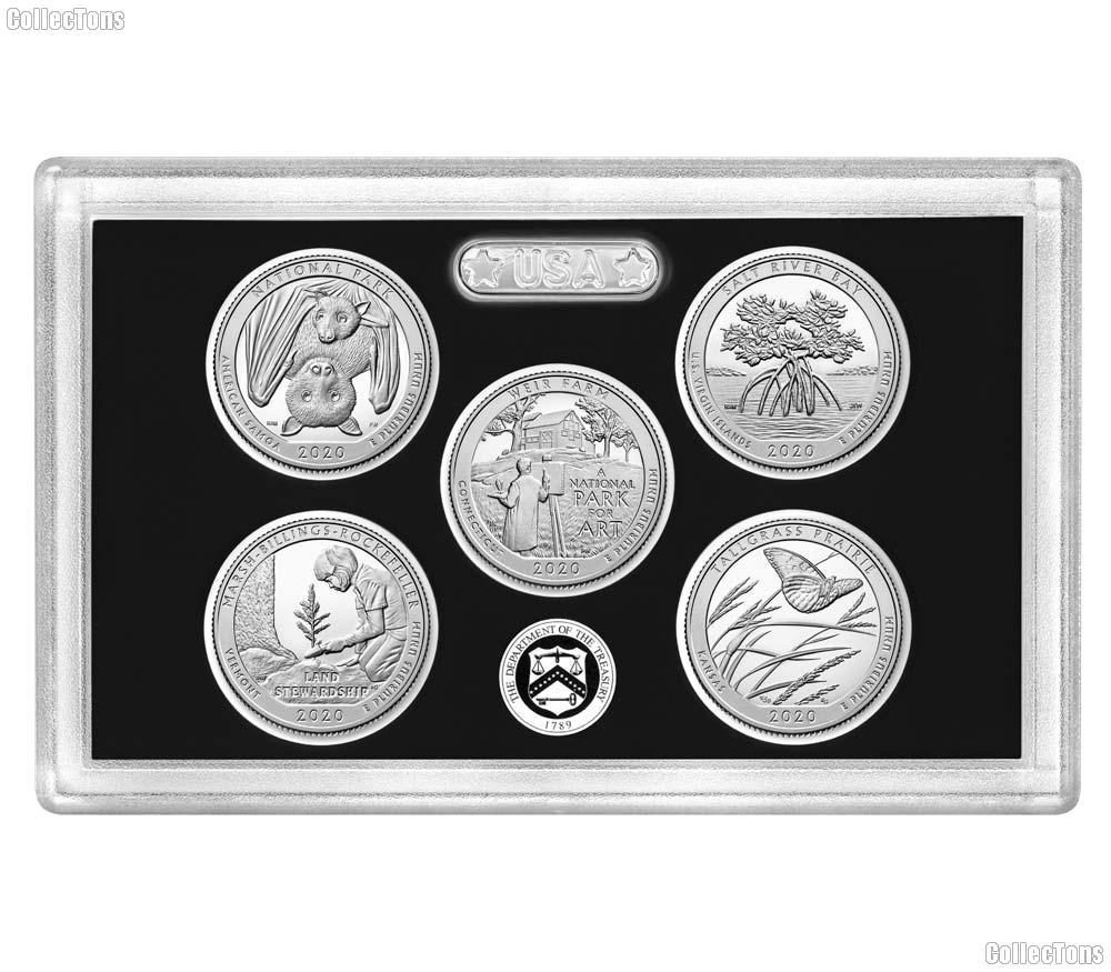 2020 QUARTER SILVER PROOF SET 5 Coin No Box or COA