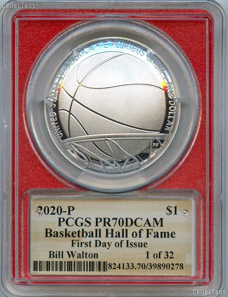 2020-P Basketball Hall of Fame Bill Walton Autograph PROOF Silver Dollar Coin in PCGS PR 70 DCAM FDOI