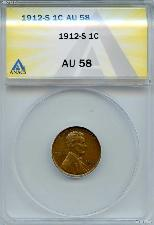 1912-S Lincoln Wheat Cent in ANACS AU 58