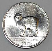 Isle of Man 1970 One Crown Manx Cat Uncirculated w/ plexiglass case