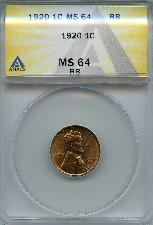 1920 Lincoln Wheat Cent in ANACS MS 64 RB