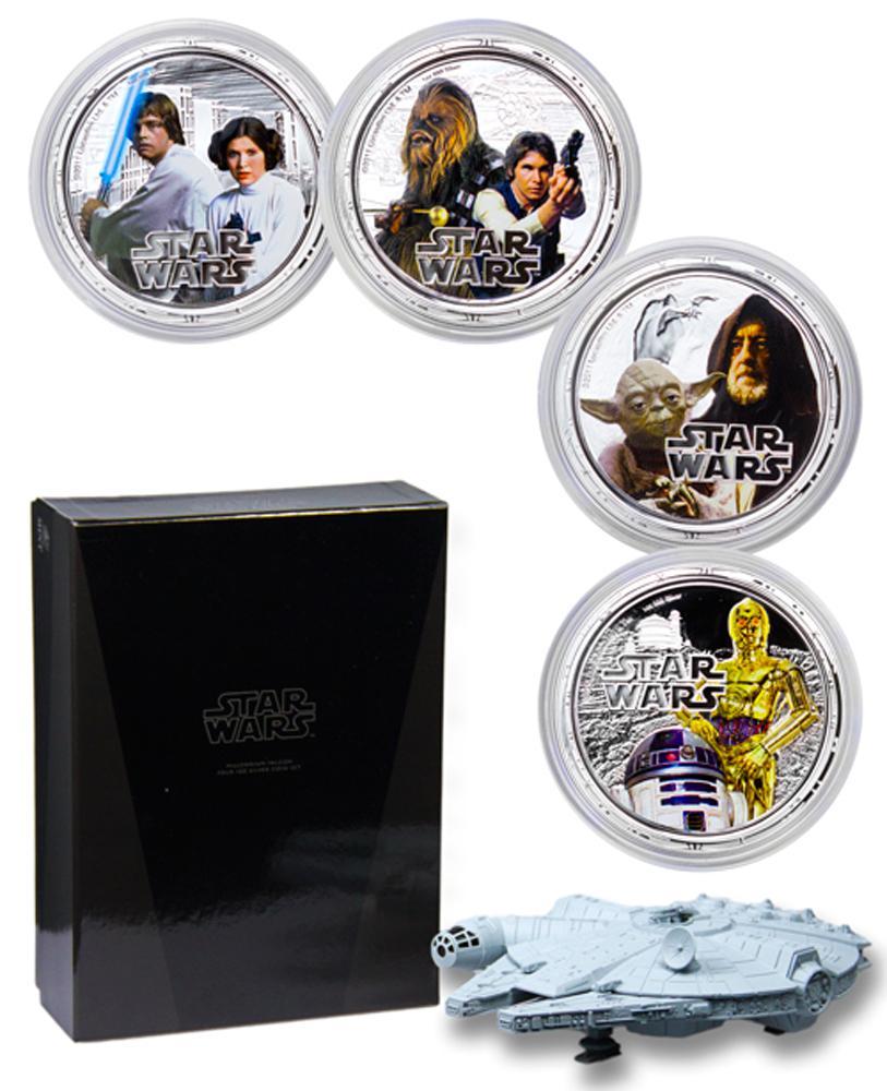 2011 Niue Star Wars  Millennium Falcon Set 1 oz Silver Colorized Proof $2 4 Coin Set GEM Proof