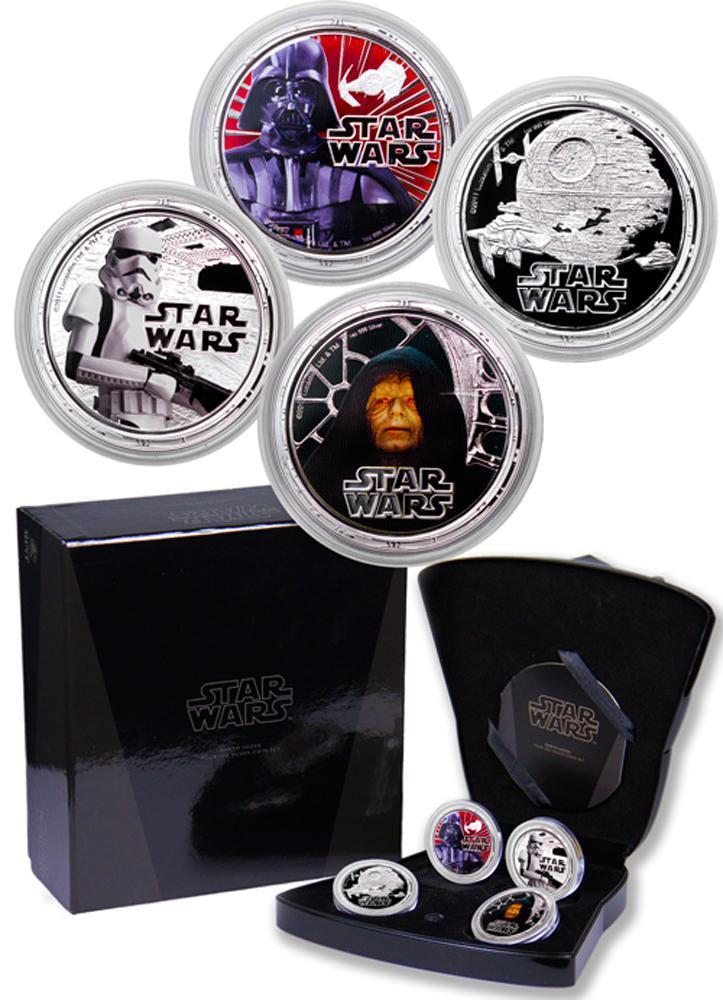 2011 Niue Star Wars Darth Vader Set 1 oz Silver Colorized Proof $2 4 Coin Set GEM Proof