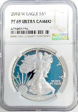 2010-W American Silver Eagle Dollar PROOF in NGC PF 69 ULTRA CAMEO