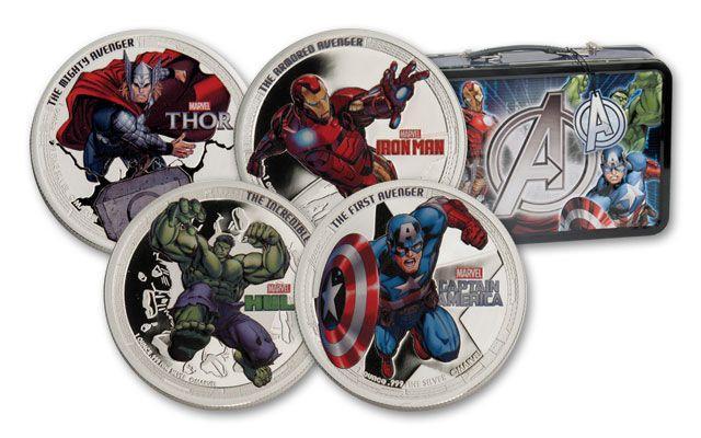 2014 Niue Avengers Set 1 oz Silver Colorized Proof 4 Coin Set GEM Proof