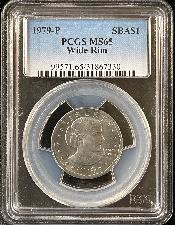 1979-P Susan B. Anthony (SBA) Dollar Wide Rim / Near Date in PCGS MS 65