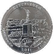 2011 Gettysburg 5 Oz Silver National Park Quarter ATB Coin