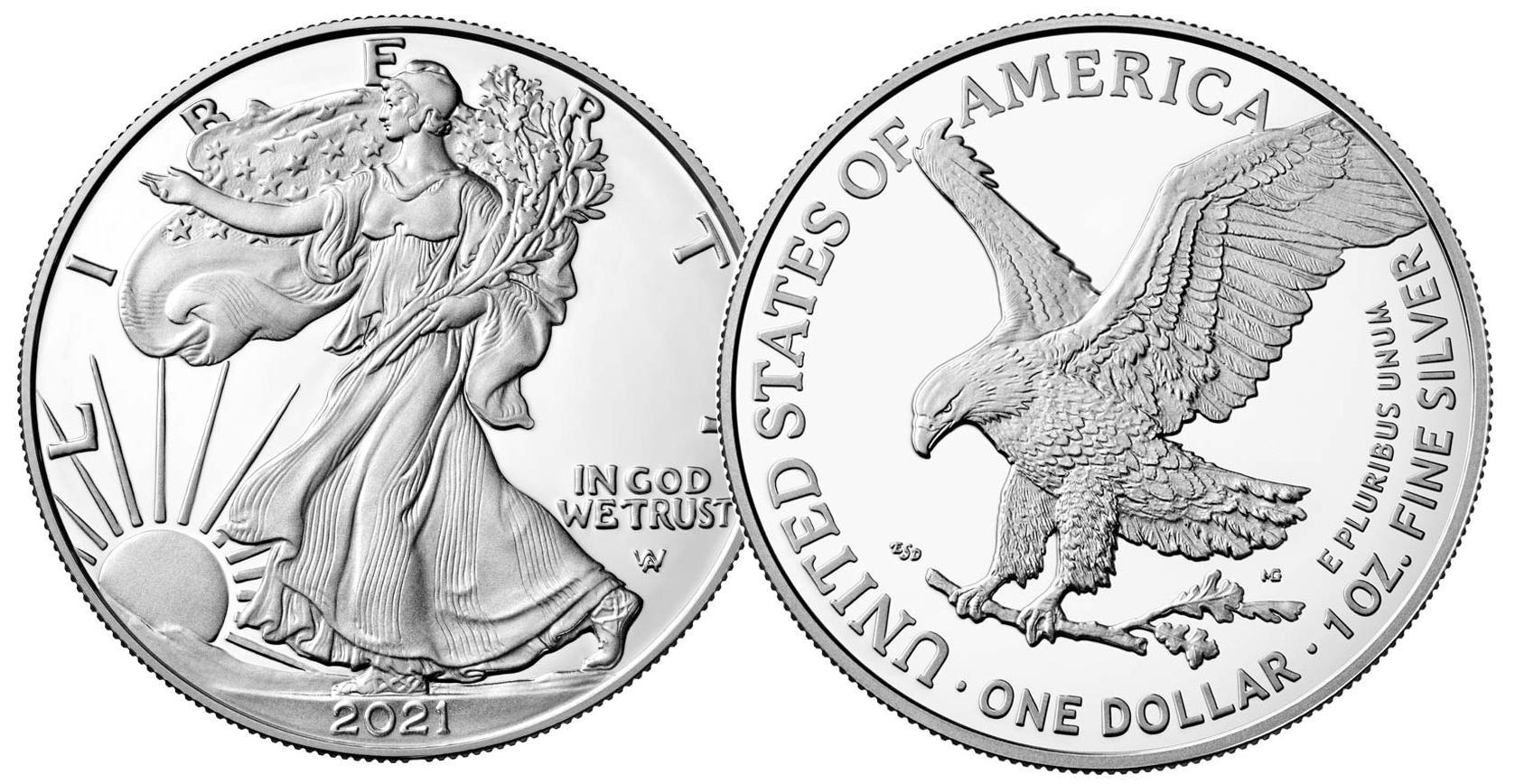 2021 American Silver Eagle Dollar BU (Type 2, New Design)