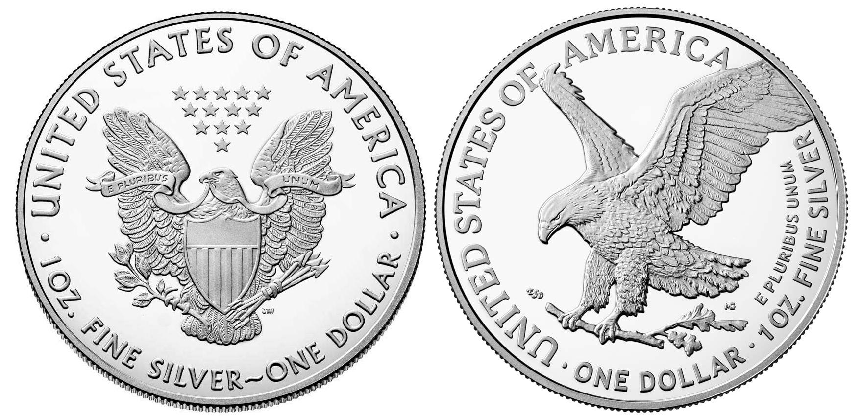 Two 2021 American Silver Eagle Dollars Type 1 and Type 2 BU