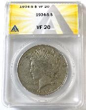 1934-S Key Date Peace Silver Dollar in ANACS VF-20