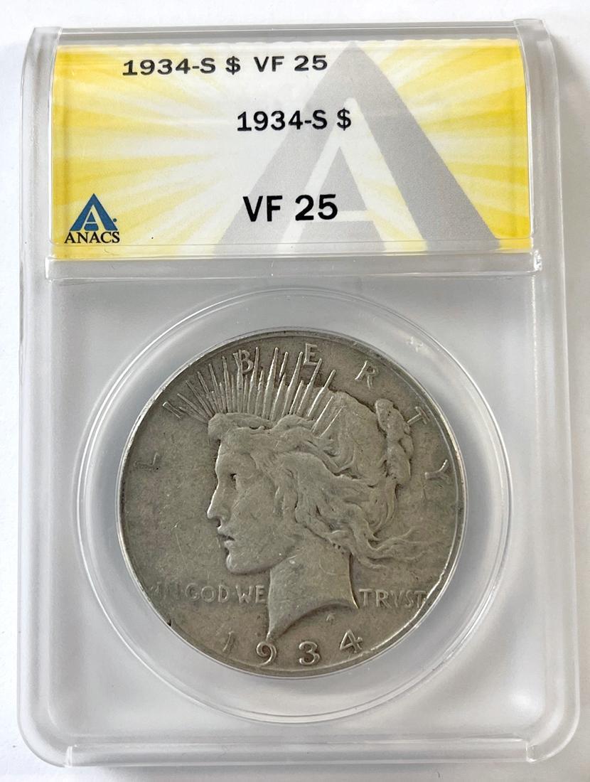 1934-S Key Date Peace Silver Dollar in ANACS VF-25