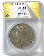 1934-S Key Date Peace Silver Dollar in ANACS VF-30