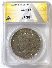 1934-S Key Date Peace Silver Dollar in ANACS VF-35