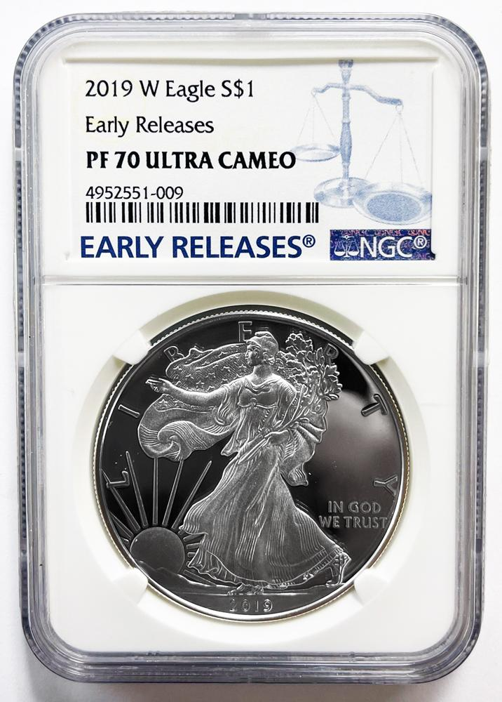 2019-W American Silver Eagle Dollar PROOF Early Releases in NGC PF 70 ULTRA CAMEO