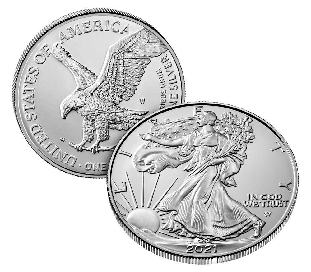 2021-W Burnished BU American Silver Eagle (Type 2 New Design)  * 1oz Silver