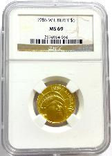 1986-W Gold $5 Commem Statue of Liberty in NGC MS 69