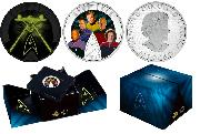 Star Trek 2017 Five Captains 2oz Silver Colored Glow in the Dark Coin