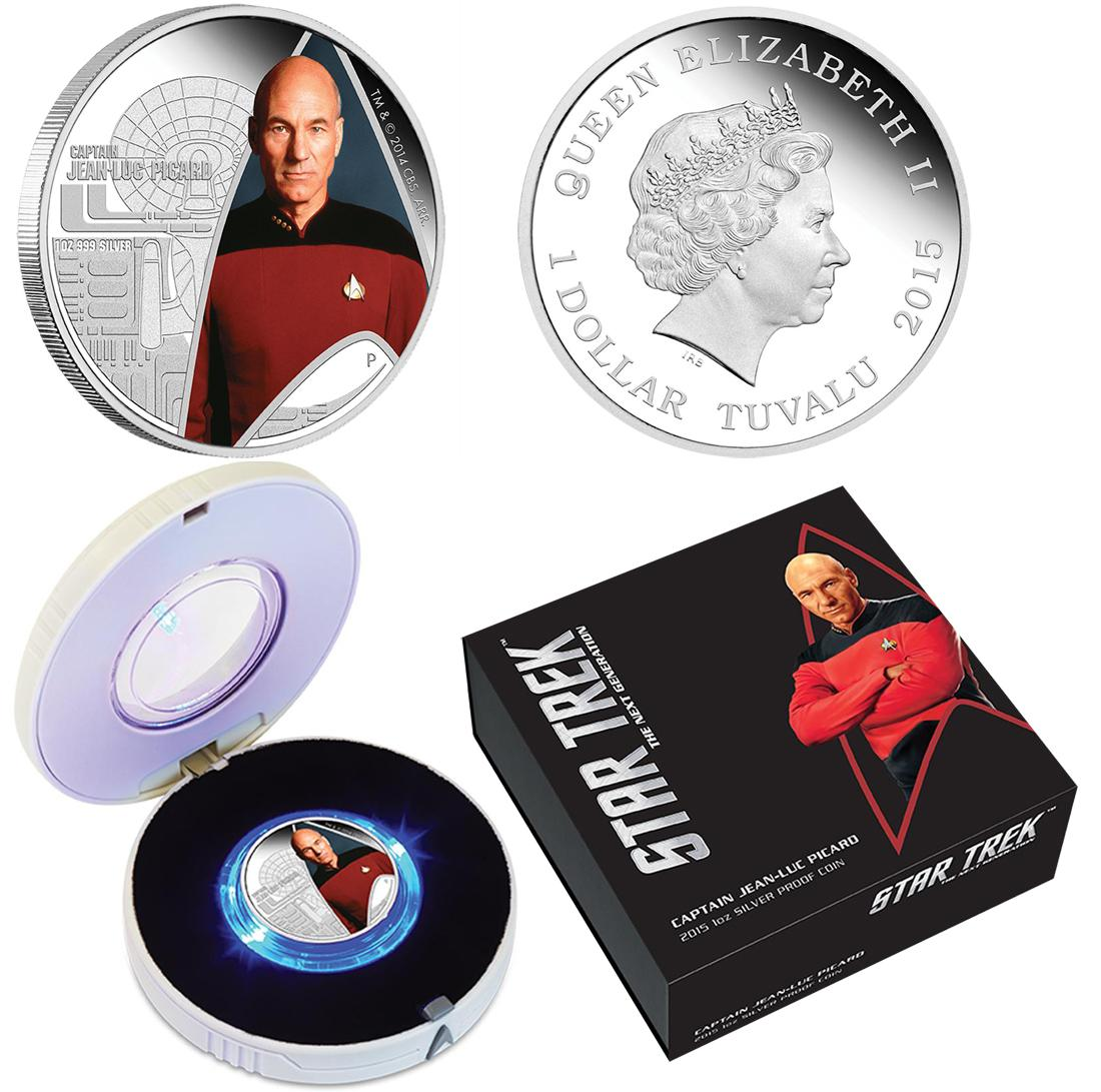 Star Trek 2015 1oz Silver Proof Coin Captain Jean-Luc Picard Set
